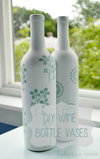 DIY Wine Bottle Vases - Tulips & A Terrier