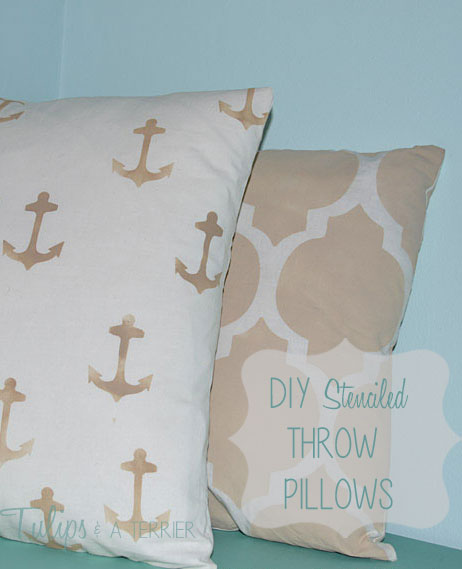 DIY Stenciled Throw Pillows - Tulips & A Terrier