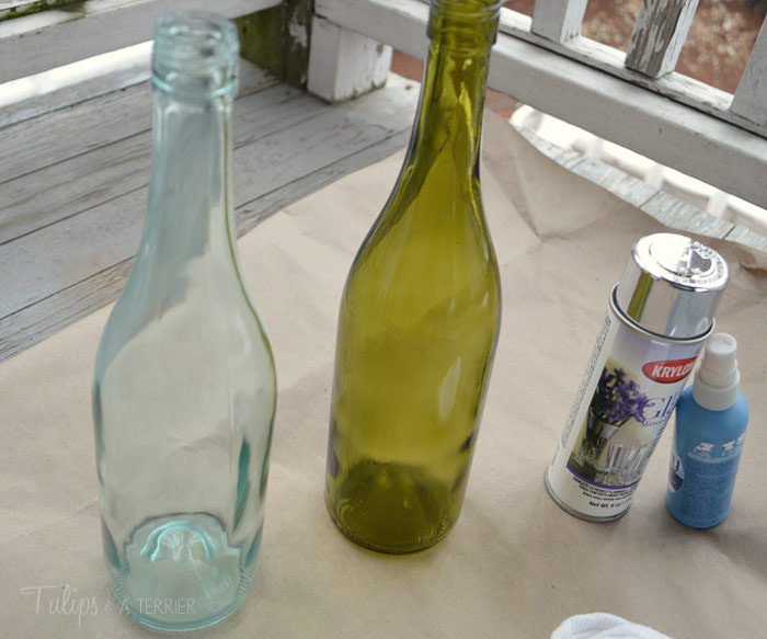 Mercury Glass Wine Bottle Vases - Tulips & A Terrier