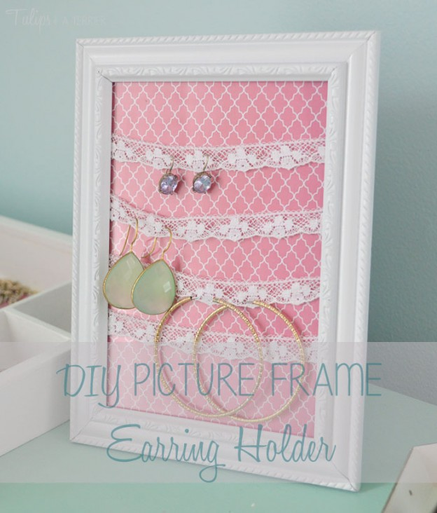 DIY Picture Frame Earring Holder - Tulips & A Terrier