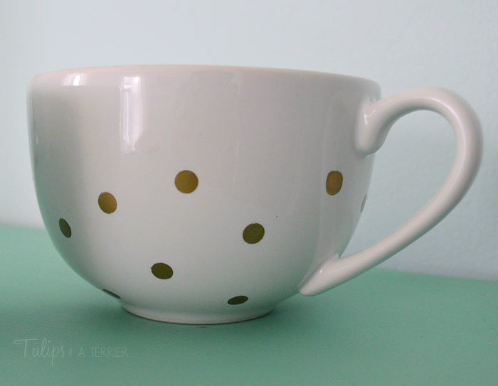DIY Polka Dot Coffee Mugs - Tulips & A Terrier