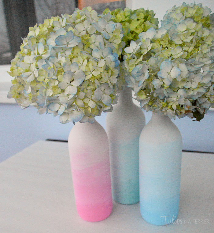 Ombre Wine Bottle Vases - Tulips & A Terrier