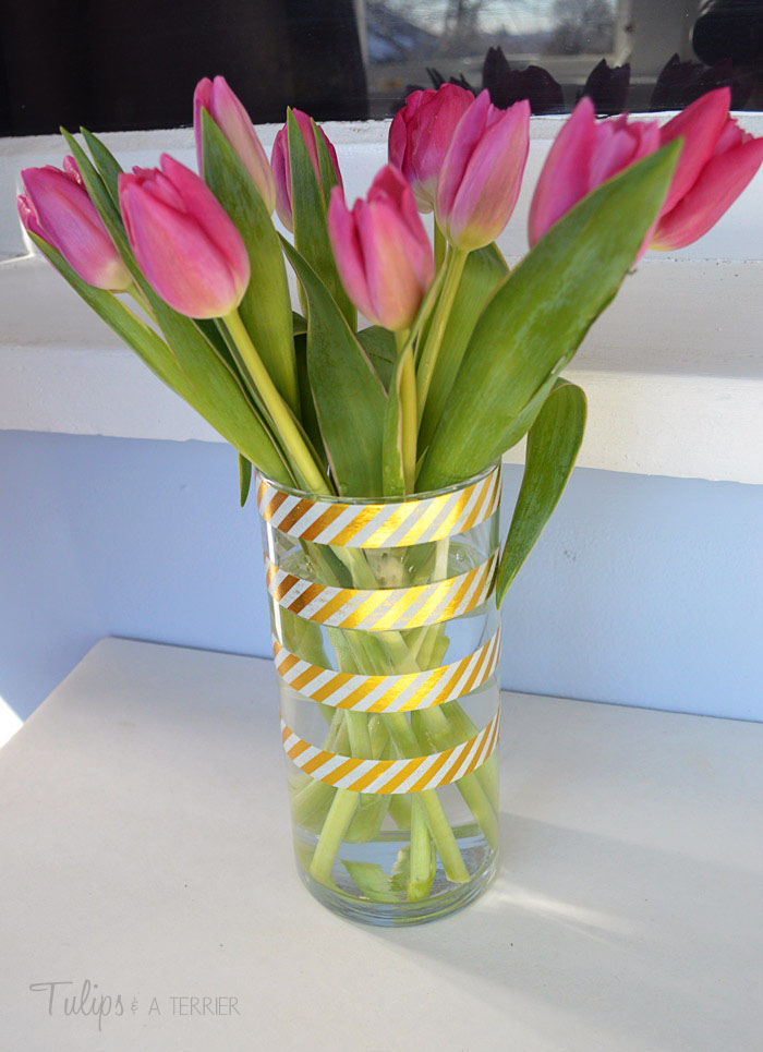 DIY Washi Tape Vase - Tulips & A Terrier